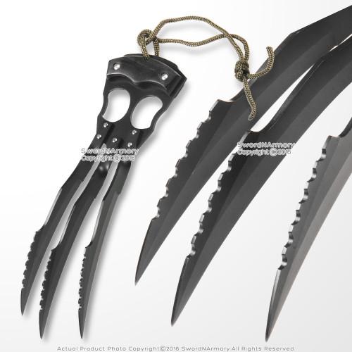 "10"" Fantasy Wolf Tiger Demon Hand Claw Steel Triple Blade Knife with Sheath"