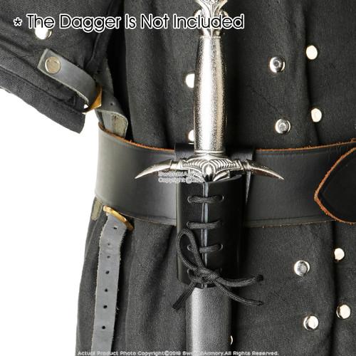 Black Faux Leather Sword Frog with Belt Hook for Dagger Main Gauche Short Sword
