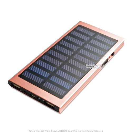 Solar and USB Rechargeable Stun Gun Power Bank Phone Charger LED Flashlight