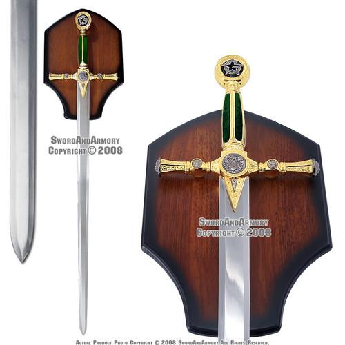 """45"""" Freemason Masonic Sword Mason Knight Templar Crusader with Plaq Green Handle"""