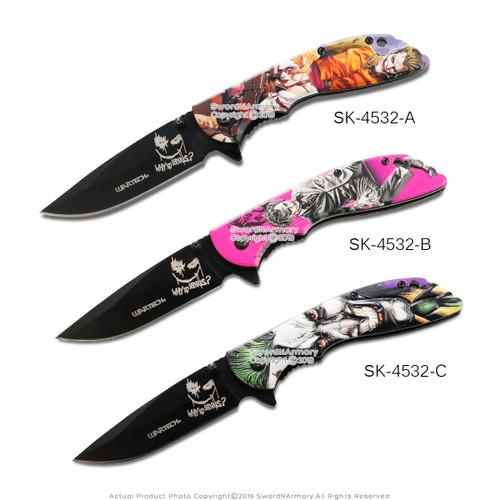 """8"""" Spring Assisted 3D Joker Handle Drop Point Blade Folding Pocket Knife"""