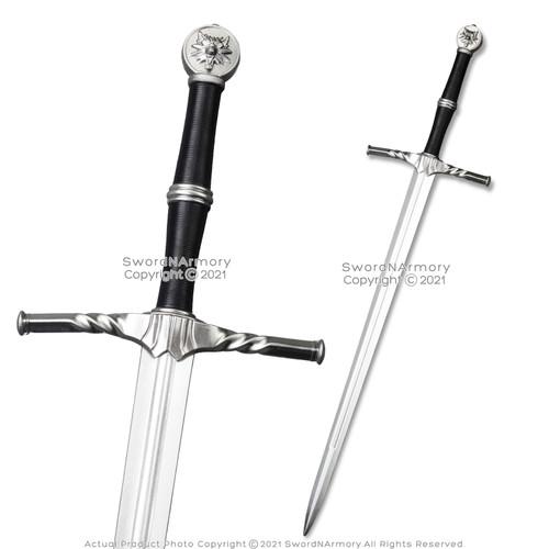 FOAM High Density Fantasy Geralt Steel Silver Long Sword Cosplay LARP Costume