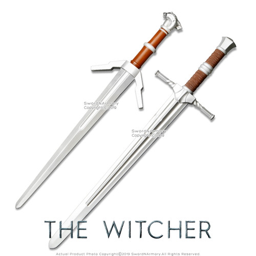FOAM The Witcher Steel Silver Two Sword Costume LARP Cosplay Video Game Set