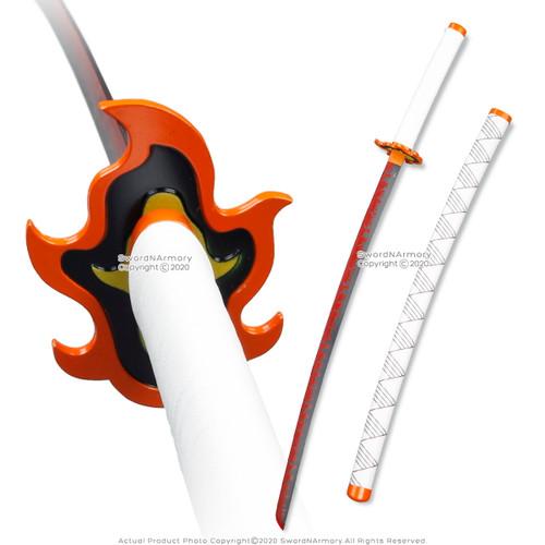 "38"" Steel LARP Cosplay Anime Demon Hashria Kyojuro Fire Sword w/ Scabbard Comic"