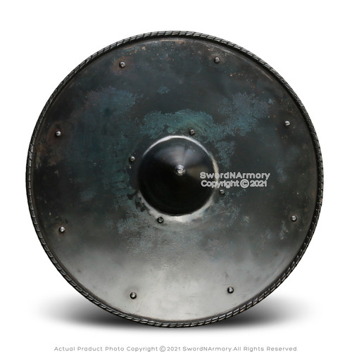 "19"" 16 Gauge Medieval Handforged Buckler Shield Spiked Dark Grey Cosplay LARP"