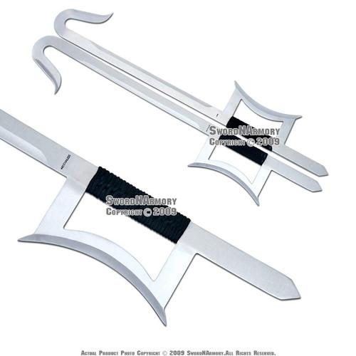 2 Pcs Martial Art Kung Fu Chinese Wu Shu Hook Swords