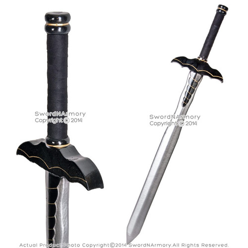 "36"" Fantasy Dark Knight Sword Black Bat Handle LARP Foam Latex Weapon Cosplay"