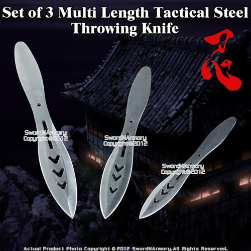 Set of 3 Multi Lengths Stainless Steel Throwing Knife Throwers with Nylon Pouch