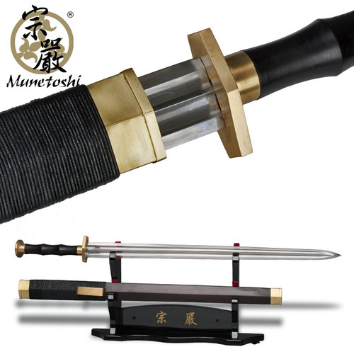 "33"" Classic Ancient Chinese Sword Replica Folded Steel Blade Ebony Handle Scab"