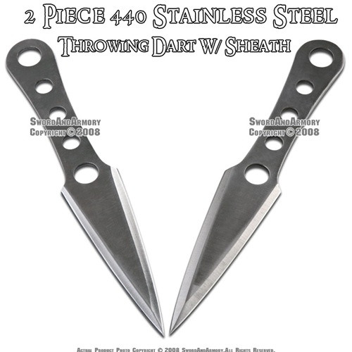"2 Pcs 9"" Steel Throwing Knife Dart Thrower Set With Pouch"