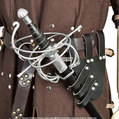 Medieval Renaissance Black Genuine Leather Rapier Sword Belt Frog Holder LARP