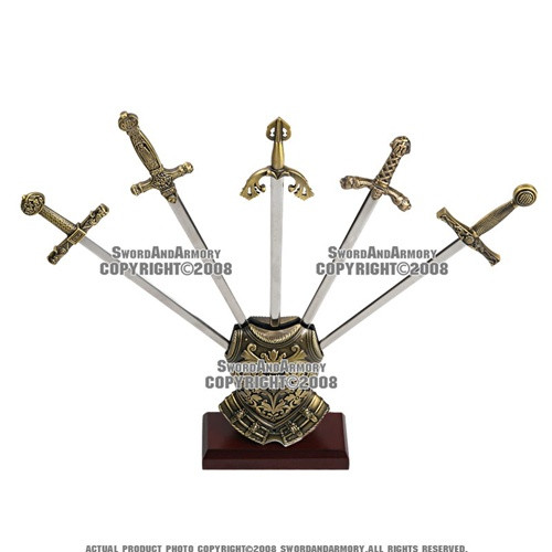 5 Pcs Legends Medieval Mini Swords Letter Openers w/ Cuirass Display Stand