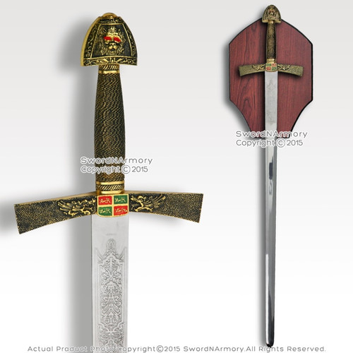 "40"" Ivanhoe Medieval Knight Crusader Arming Sword with Wooden Display Plaque"