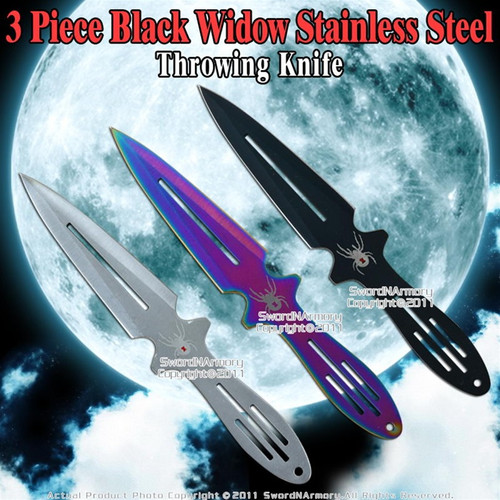 """8.75"""" Set of 3 Widow Throwing Knife Steel Throwers Multiple Colors with Case"""