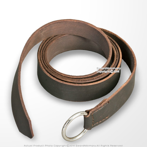 Brown Genuine Leather Viking Ring Belt for Medieval Renaissance Costume LARP