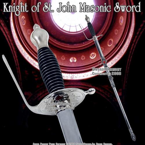 """33 """" Crusader Templar Knight of St. John Masonic Sword"""