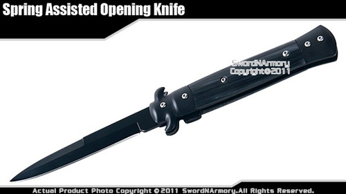 Stiletto Spring Assisted Open Folding Knife Pocket Folder Black Acrylic Handle