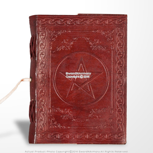 Handmade Genuine Leather Journal Parchment Paper Brown Pentagram Diary Notebook
