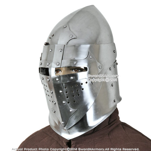 Functional Battle Ready 16G Medieval Knight Pig Faced 14th Century Bascinet Helmet SCA Armor