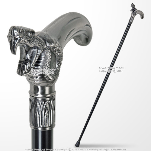 "35"" Cobra Head T style Handle Metal Steel Shaft Gentlemen Stick Walking Cane"