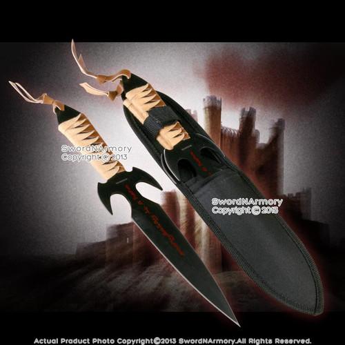 """10.75"""" 3 Pc Set Hero Throwing Knives Fantasy Fixed Blade Dagger w/ Nylon Sheath"""