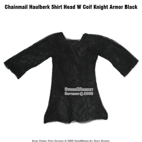 Black Color Chainmail Haubergeon Shirt  with Head Coif Knight Armor