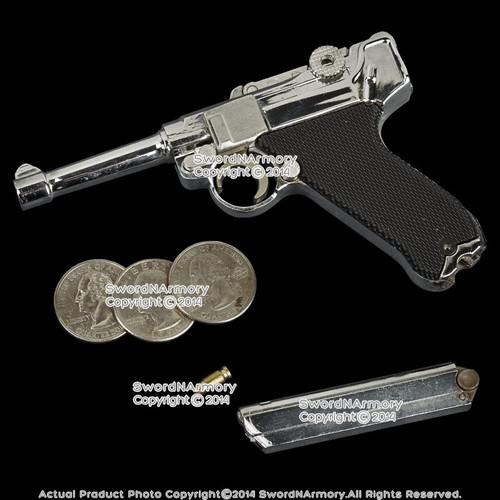 "4.5"" Miniature WW2 German 9mm Luger P08 Replica Pistol Gun Gift Souvenir w/ Case"