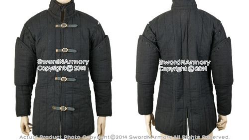 Black Gambeson Type I Medieval Padded Armour Coat SCA WMA Arming Jacket XXL Size