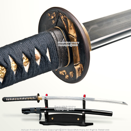 Ryujin Bamboo Tsuba 1095 Steel Differentially Hardened Katana Samurai Sword Bohi