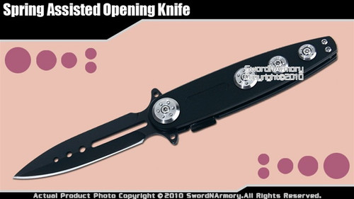 Black Spring Assisted Opening Tactical Folding Knife Straight Blade