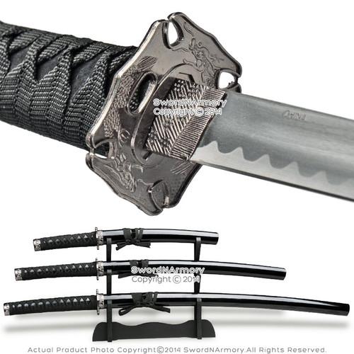 Black 4 Pcs Dragon Samurai Sword Set with Display Stand Katana Wakizashi Tanto