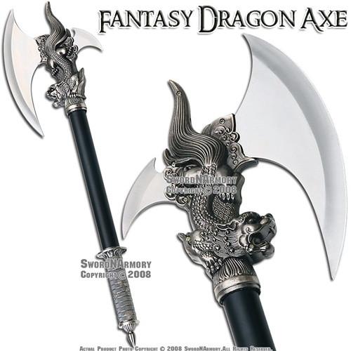 Dragon King Fantasy Medieval Battle Axe With Dagger