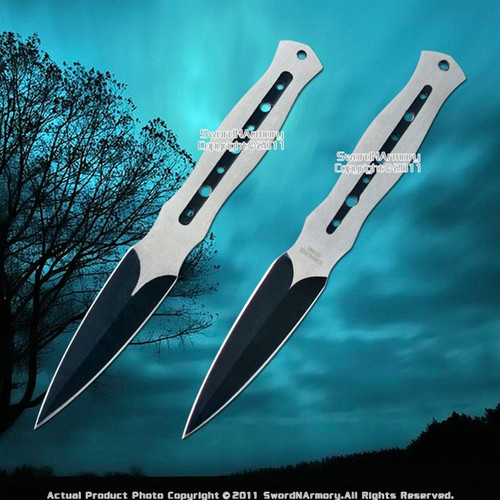 "Set of 2 7.5"" 440 Stainless Steel Throwing Knife Dart  with Sheath"