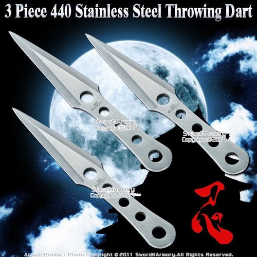 Set of 3 Throwing Knife Dart Stainless Steel  w/ Sheath