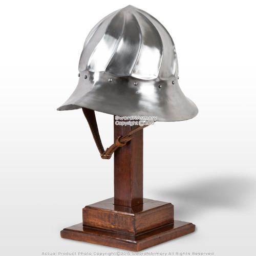 Functional Medieval Burgundian Fluted Helmet Fighting Combat Kettle Hat 16G SCA