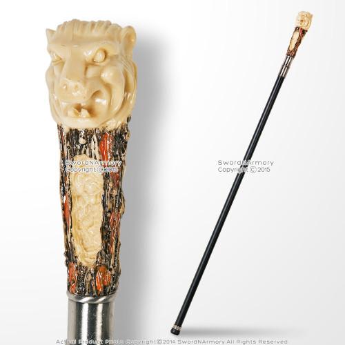 "34"" Lion Head Head Color Handle Steel Shaft Fantasy Walking Stick Gentleman Cane"