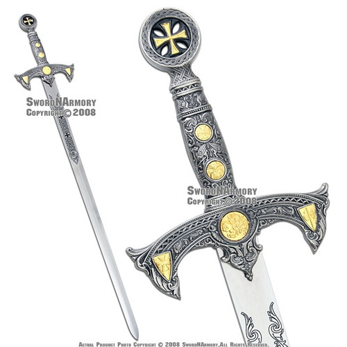 "47"" Medieval Templar Knight Crusader Sword With Leather Sheath"