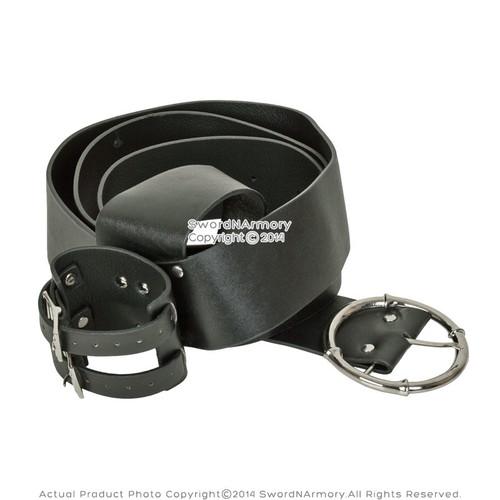 Black Faux Leather Sword Belt Frog Hanger Baldric for Renaissance Costume LARP