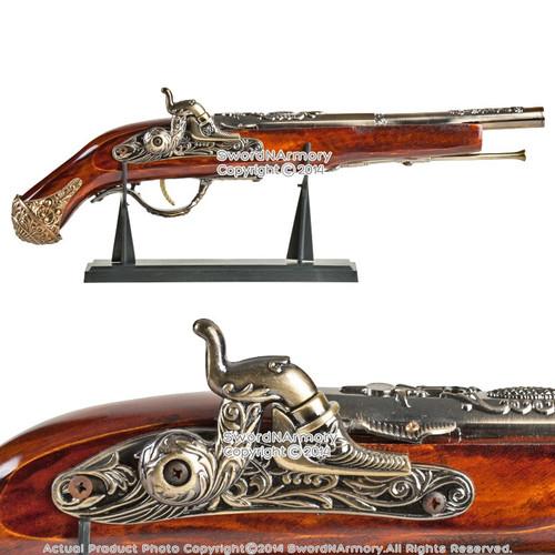 "17"" Naval Pirate Toy Gun Flintlock Blunderbuss Replica Pistol Cosplay w/ Stand"