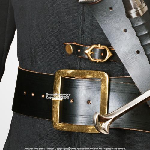 """59"""" Genuine Leather Pirate Waist Belt Brass Buckle Renaissance Cosplay LARP"""