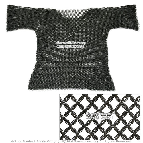 Medieval Style Armor Chainmail Shirt Butted Half Sleeves Renaissance Costume