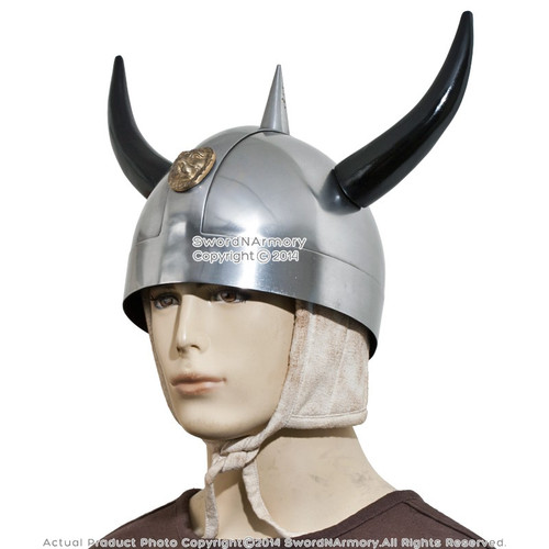 Viking Warrior Helmet with Horns Norse Medieval Costume Stage Prop LARP