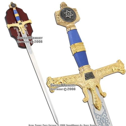 "51"" Medieval  King Soloman Templar Sword Blue  Handle"