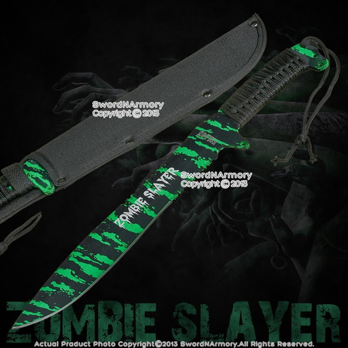 "16"" Full Tang Black and Green Zombie Slayer Machete Killer Sword w/ Nylon Pouch"