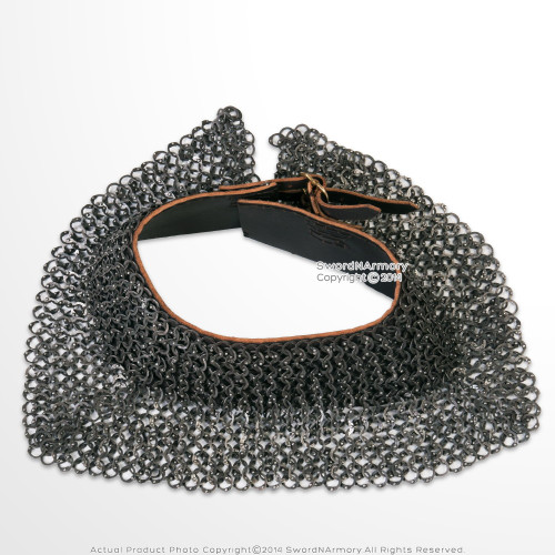 Functional Medieval Chainmail Standard Collar Neck Protector 16G Stainless Steel