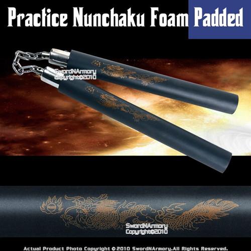 Black Dragon Foam Padded Nunchuck W/ Steel Swivel Chain