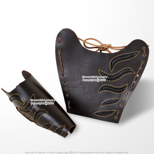 1 Pair Medieval Leather Armor Arm Bracers with Straps LARP Renaissance Costume