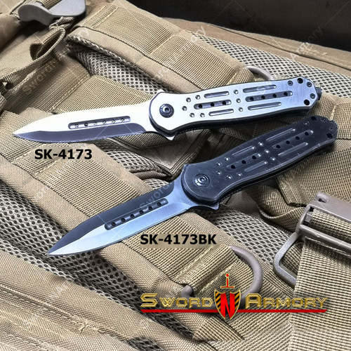 "8.5"" Spring Assisted Knife w/ Full Metal Handle Nitro Coated Blade Glass Breake"