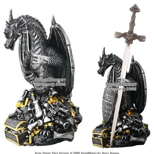 Fantasy Dragon Poly Resin Emperor Treasure with Sword Shield Letter Opener Gift