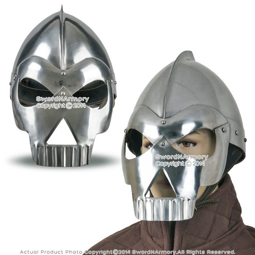 Medieval Fantasy Wearable Skull Crusher Steel Helmet LARP w/ Liner & Chin Strap
